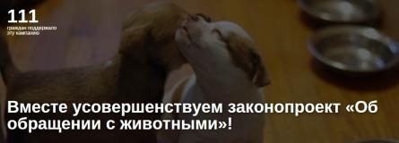 Вместе усовершенствуем законопроект «Об обращении с животными»!